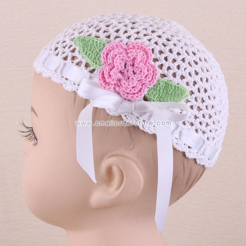 Crochet Baby Flower Beanie With Ribbon - 2081(China (Mainland))