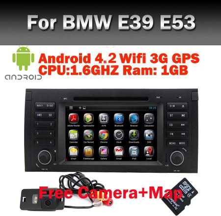 Free Camera+Map Pure Android 4.2 car DVD GPS for BMW E39 E53 E38 with Capacitive Screen Wifi 3G Bluetooth Radio IPOD USB SD IPOD(China (Mainland))