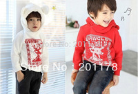 312# free shipping children Christmas deer sweatshirt with fur hooded clothing for boy