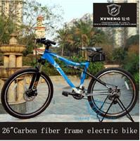 """26 """"carbon fiber frame electric mountain bike 21 speed adjustable damping front fork 36v10a250w"""