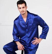 Mens Silk Pajamas Pajama Pyjamas PJS Sleepwear Set U.S.S,M,L,XL,XXL,3XL Pants(China (Mainland))