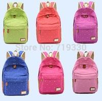 New Fashion School Backpacks Dot Print Canvas Backpack Women Backpacks Jan Sport Backpack Free Shipping
