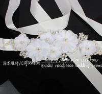 Wholesale Luxury White Lace Flower Wedding Dress Belt Bridal Sash Very Beauty DIY Wedding Dress Decoration