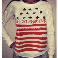 sportswear women gagaopt brand design 3d printed star striped sweatshirt harajuku contrast color long-sleeve tshirt pullover