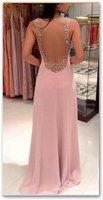 Europe 2014 new shiny beaded chiffon prom dress fashion pink Halter evening dresses