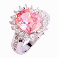 New Vogue Flower Cluster Design Romantic Pink Topaz 925 Silver Ring Measurement 6 7 eight 9 10 Wholesale Free Shipping For girls Rings