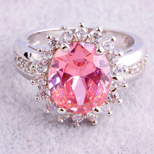 New Fashion Flower Cluster Design Romantic Pink Topaz 925 Silver Ring Size 6 7 8 9