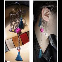 New Exquisite personalized Long Tassel Earrings Jackets Women Cuff for Ear Jacket Skull Punk Rock style Big fashion A05018