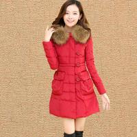 New Women Winter Coats 2015 Women's Causal Thick Fur Collar Hooded Long Parka Coat Winter Jacket Women Cotton Coat AS1510