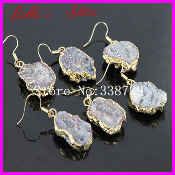 1 par naturel Druzy pierre crochet Earring Ametrine Druzy Drusy cristal Dangle boucles d'oreilles Gem pierre Quartz femmes boucles d'oreilles plaqué or(China (Mainland))