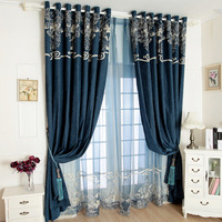 Upscale chenille embroidered curtains for modern living room bedroom tull sheer curtain window screening customize