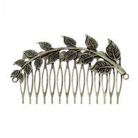 Dorabeads Hair Clips Comb Shape Antique Bronze Leaf Branch Pattern Hollow 8.7cm x 5cm,5PCs