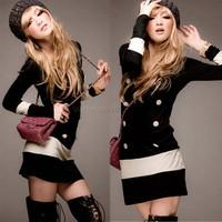2014 Hot Sale Women Patchwork Black White Long Sleeve  Cotton Autumn Casual Slim Mini party dresses SV19 SV010004