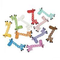 "Dorabeads Wood Painting Sewing Buttons Scrapbooking Giraffe 2 Holes Mixed 3.9cm x 1.9cm(1 4/8"" x 6/8""),50PCs"