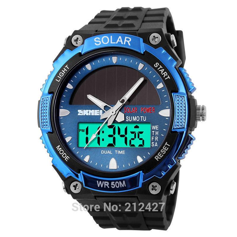 skmei 1049 multi-function fashion imported solar power panels dual time digital japan quartz watch for women&men(China (Mainland))