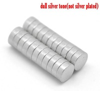 """Dorabeads Silver Tone Super Strong Neodymium Disc Magnets 4mm(1/8""""),sold per pack of 50"""