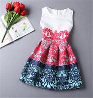 New 2014 Fashion Women Autumn O-neck Sleeveless Dress Slim Ladies Vintage Flower printed Ball Dresses 14 Style 10202
