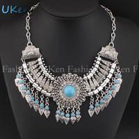 2014 Fashion Indian Design Necklaces Vintage Silver Chain Geometric Tassels Beach Women Statement Necklaces & Pendants N2579
