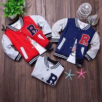 new 2015 spring boy baseball jacket retail baby's outwear kids coat long sleeve knit letter coat baby jacket LE62