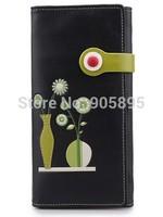 2015 New arrival  Fashion PU  wallet with Hasp Flower Vase original design elegant long wallet   best present Free shipping
