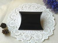 "Free Shipping 200pcs Shinny Black Pillow Box Wedding Favor Party Gift Paper Boxes  10x8.5cm(4""x3.3"") Glossy Lamination"