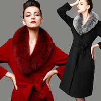 ladies Cashmere overcoat 2014 ultra long wool outerwear with large fox fur collar slim top quality wool coat