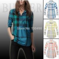 Shirt Women Special Offer Button Full Blusas New 2014 Summer Girls Blouse Leisure Classic Plaid Shirt Pocket RivetsFree Shipping
