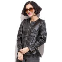 Plus Size XL-5XL Women Black Leather Jackets O-Neck Charming Lady Short Coat Pockets & Zipper Decorate Fashion Woman Outerwear