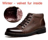2014 New geneine leather men work boots winter warm man shoes velvet fur autumn man's casual flats lace-up driver shoe sneaker