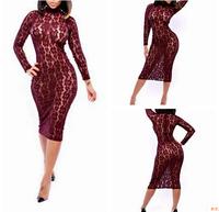 new 2015 sexy women Floral Lace Sheer Bandage Dress  plus size party club bodycon dress bodysuit Pencil Dress red/black