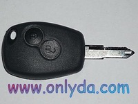 Renault two button  key blank with stainless steel battery clamp
