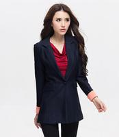 Free Shipping 2014 New Arrival Fall Winer Plus Size  women's beauty installed  Korean Slim suit jacket , Long Blazers XL-4XL