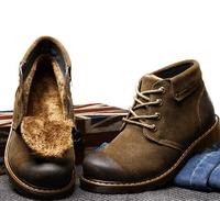 2014 winter men shoes brands luxury suede warm men boots brown waterproof genuine leather outdoor fur shoes men winter boots