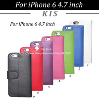 100pcs/lot Folio Style Stand PU Leather Case With 3 Credit Card Slots For iPhone 6 4.7 inch, Free Shipping