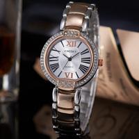Relogios Feminino Lady Rhinestone Watch Roman Number Analog Multi-Color Stainless Steel Band Quartz Wrist Gift Watch Hot Selling