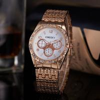 New Bling Crystal Ladies Watch White Dial Analog Display Elegant Rose Gold Full Steel Watch For Women Rhinestone Wristwatch Top