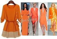 Wholesale 2014 Women Chiffon Patchwork Dress O-Neck Half Above Knee Mini Dresses Size S M L XL Free Shipping B19 CB031930