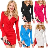 Deep V Women Bodycon Sexy Dress,High Street Long Sleeve One-piece Mini Office Dress White Red Casual Plus Size Roupas Femininas