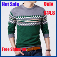 2014 Autumn Winter Christmas Sweater Men Jumpers Knitted Slim Round Neck Pull Homme Rhombus Pullover Mens Sweaters Free Shipping