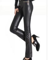 Free Shipping New Autumn winter lady pu leather pants,straight High Waist big Size  tight leather  trousers