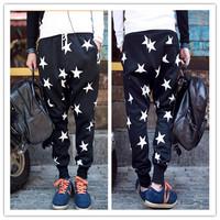 Hot Sale 2014 Fashion Man Star Harem Pants Harem Dance Jogger Baggy Trousers Man Star Printing Hip Hop Pants FK658003