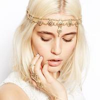 Vintage Pearl Flower Gold Chain Hairband Hair accessories Crown Hair jewelry Headband Styling Tools Head Chain Head JewelryCF097