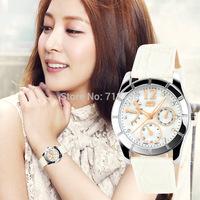 2014 New Women Dress Watches Diamond Genuine Leather Strap Fashion Quartz Student Watch 3COLORS Wristwatch Relogio Feminino