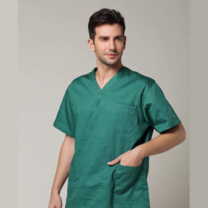 100% cotton Surgery uniform spa uniforms Massage doctor scrubs set Medical Clothes with pant + hat,resist high temperature(China (Mainland))