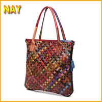 Free shipping 2015 New Luxury OL Lady Women Woven Hobo Handbag Tote Fashion Bags Lady Oil Wax Cow Leather Purse