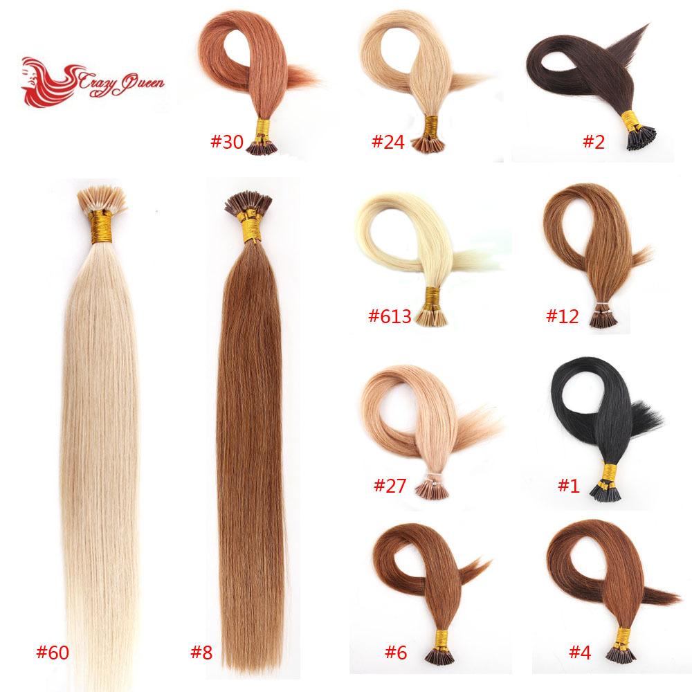 "18"" 20"" 22"" #60 Platinum Blonde Pre bonded Keratin stick tip hair / I tip Human Hair Extensions 100s/pack 50gram(China (Mainland))"