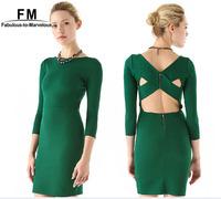 New Green Dress Sexy Club Dress 2014 Across Backless Bodycon Dress 3 Quarter Sleeve O-neck Mini Vestido Plus Size AW14D049