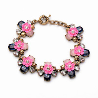 Free Shipping Luxury Brand Compact Pink Acrylic And Crystal Flowers Retro Ladies Bracelet Costume Jewelry Accessories PSB-S030