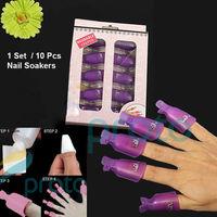 10Pcs/Set  Second Generation Wearable Acrylic Nail Polish Removers Soak Soakers Cap Art UV Gel Tool Wraps Color Random F0263