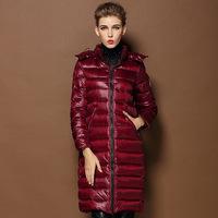 2014 New Arrived Women's Long Down Coat Hooded Zipper Winter Warm Jacket Parkas Black Wine Red